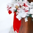 Christmas decoration on a cabin — Stock Photo #9579751