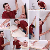 Montage of a man wallpapering — Stock Photo