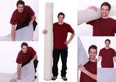 Mozaïek van de mens met roll van tapijt — Stockfoto