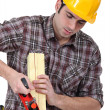 Man planing wood — Stock Photo #9580288