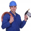 Plumber with a blowtorch — Stock Photo #9580324