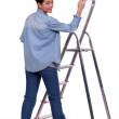 Female DIY fan stood with paint brush and ladder — Stock Photo