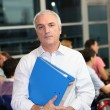 Teacher supervising exam — Stock Photo #9582395