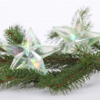 Christmas tree decorations on branch — Stock Photo