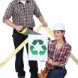 Builders pledging to recycle — Stock Photo #9583562