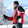 Foto Stock: Profile shot of male skier