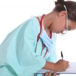 portrét holčičky v uniformě zdravotní sestry — Stock fotografie