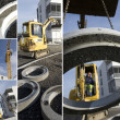 Stock Photo: Construction vehicle lifting concrete ring
