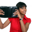 Woman with a leather personal organiser — Stock Photo