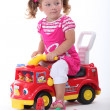 Stock Photo: Girl on fire engine