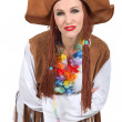 Stock Photo: Womdressed as hippy
