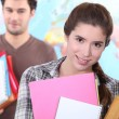Two students leaving class — Stock Photo
