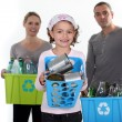 Family recycling — Stock Photo