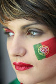 Woman supporting the Portuguese football team — Stock Photo