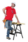 Cabinetmaker staring at the ceiling — Stock Photo