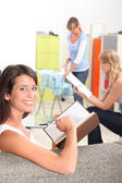 Women with household chores — Stock Photo
