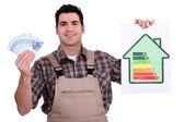 Arbetstagare som innehar pengar och energieffektivitet betyg diagram — Stockfoto