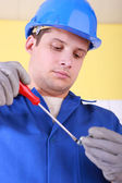 Electrician with screwdriver — Foto de Stock