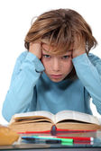 Stressed school kid — Stock Photo