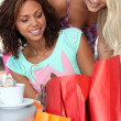 Women taking a break from shopping — Stock Photo