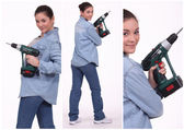Woman operating a screwdriver — Stock Photo
