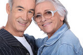 Close-up shot of an elderly couple — Stock Photo
