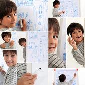 Figlio di disegno con il pennarello — Foto Stock