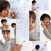 Child drawing with marker pen — Stock Photo
