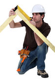 Craftsman taking measurements — Stock Photo