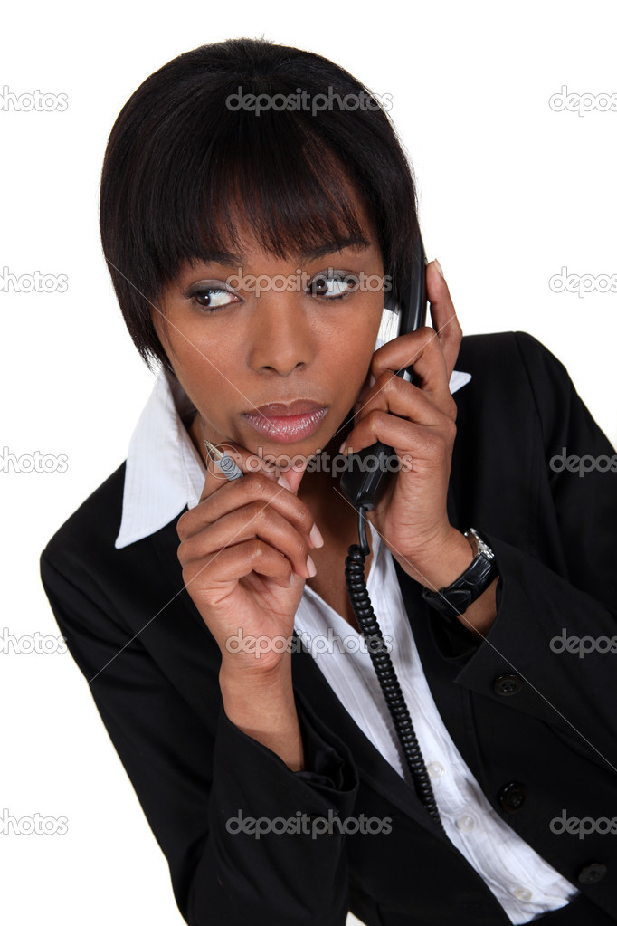 Woman paying attention during phone call — Stock Photo #9590085