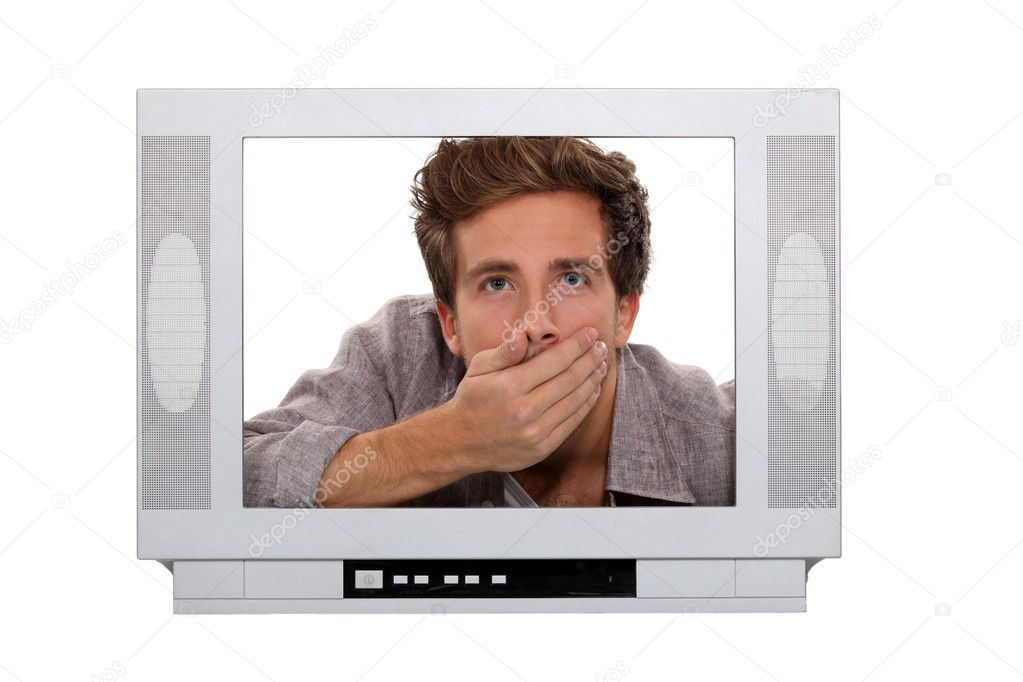 Man gasping inside a TV screen — Stock Photo #9594838