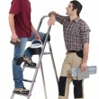 Stock Photo: Tile fitters having a conversation