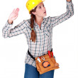 Stock Photo: Tradeswompatting invisible walls