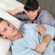Couple mattress testing — Stock Photo #9605497