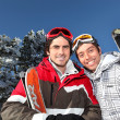 Two men on skiing trip - Stock Photo