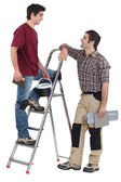 Tile fitters having a conversation — Stock Photo