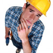 Stock Photo: Pensive handyman