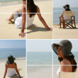 Stock Photo: Montage of serene womon beach