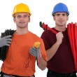 Electrician and plumber - Stock Photo
