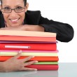 Secretary with a stack of folders — Stock Photo