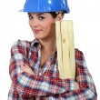 Female woodworker — Stock Photo #9615782