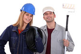 Portrait of an electrician and a painter — Stock Photo