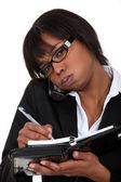 Businesswoman taking a tough call — Stock Photo