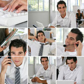 Mosaic of man office worker with laid-back attitude — Stock Photo