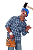 Accident prone construction worker — Stock Photo