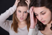 Two young women arguing — Stock Photo