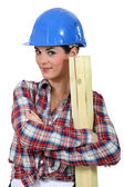 Female woodworker — Stock Photo