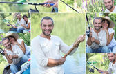 Montage of a couple fishing — Stock Photo