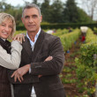 Stock Photo: Couple in front of vineyard