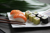 Selection of sushi on a plate — Stock Photo